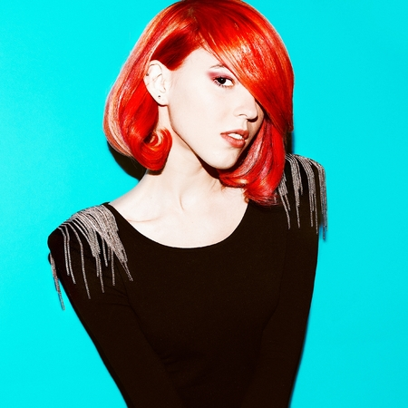 Sensual Beauty Model. Style Hair. Red Hair Color trend.