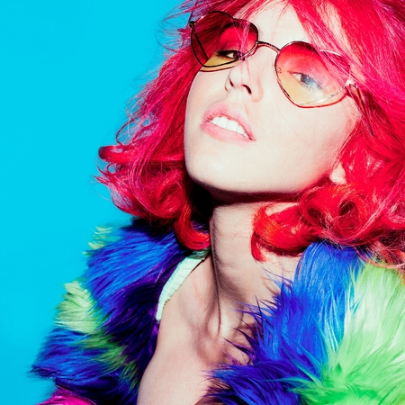 gels: Stylish Red Hair, Glamorous Lady in bright coat, Sunglasses hearts Club Style Party