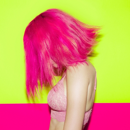 Hair Style Fashion Pink hair model. Trend colors mix
