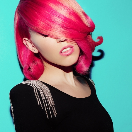 Sensual Beauty Model. Retro. Colored Hair Style