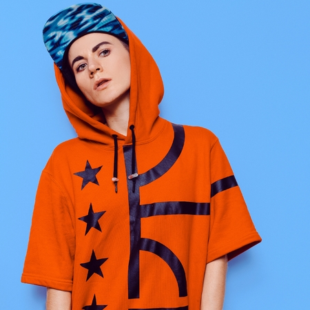 Hip Hop Style Girl fashion Urban Culture Outfit Stock Photo