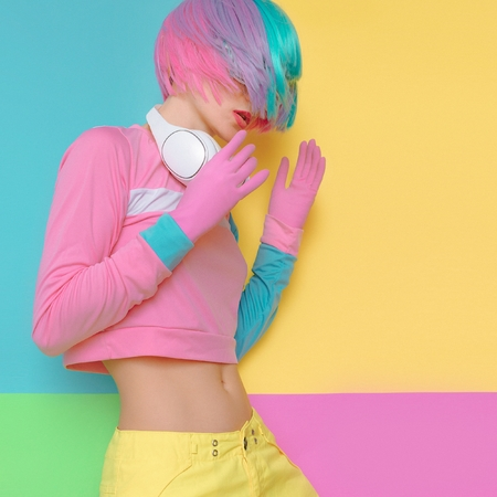 Minimal fashion Pop Art. Vanilla color. Playful girl DJ. Doll style. funny fitness vibes