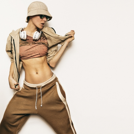 Urban Fashion Model. Hipster Hip Hop DJ Street dance style.