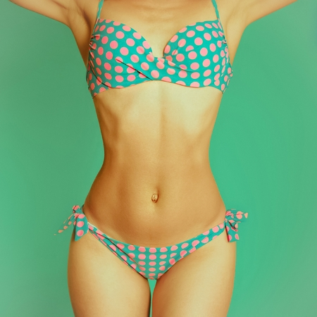 Vintage Lady in swimsuit Polka dot on a blue background. Retro Summer ?????