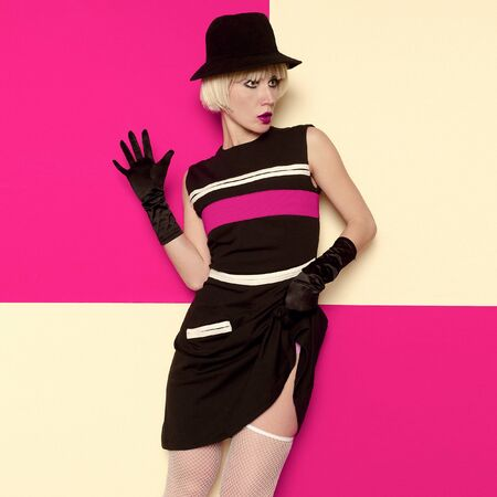 Lady Retro Style Art Cabaret vintage clothing. Minimal Fashion. Stripe Design