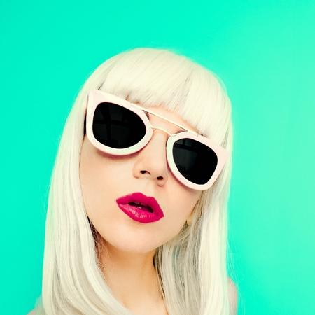 Glamorous Blonde Bob on a blue background. Summertime style