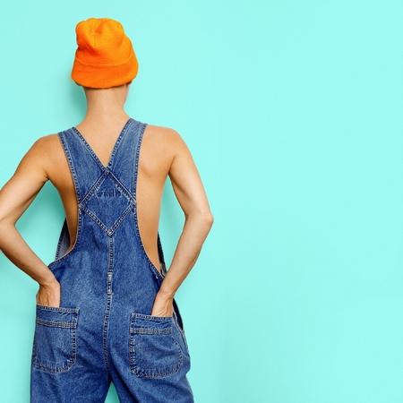 Stylish hipster model Denim Urban fashion denim overalls Summer Style