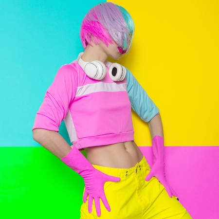 Minimal fashion Pop Art. Vanilla pastel colors. Girl DJ. Stock Photo
