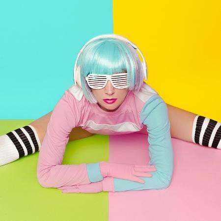 Fitness Lady. Minimal fashion Pop Art. Vanilla pastel colors. Girl DJ. Doll style.