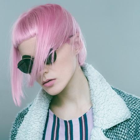 Pink hair. Bob Kare. Sensual Fashion Lady