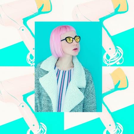 Funny collage. Pink Bob Kare. Fashion style girl Stock Photo