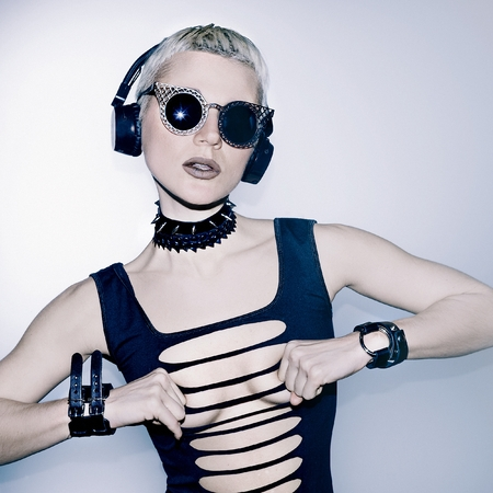dubstep: Hardcore Party. Sexy DJ Lady Stock Photo