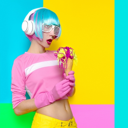 Hipster Lady Disco and Fake Ice Cream. Minimalism art. Fresh colors. Pastel trend