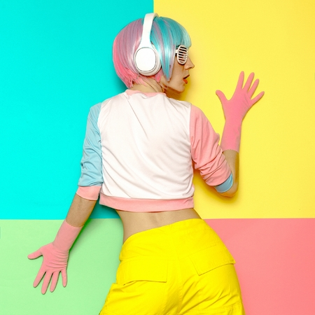 Vanilla DJ Lady. Minimal pop art style. Fashion colors. Sweet party Stock Photo