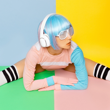 Music lover. Minimal fashion Pop Art. Vanilla color. Girl DJ. Doll style. fitness vibes