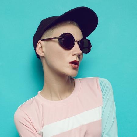 Hipster swag style, cap, sport, happy girl, b-boy cap, City swag style, beauty fashion model stylish accessory sunglasses