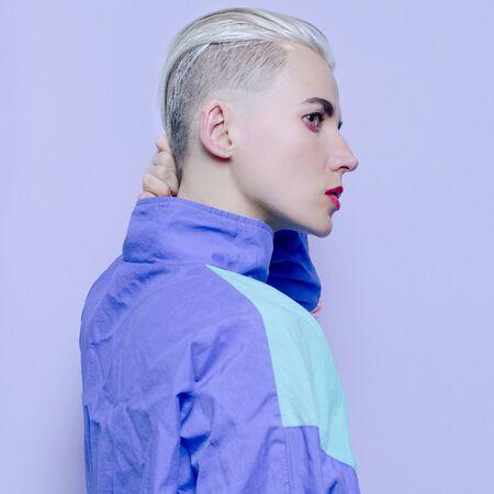 hipster blonde girl in fashionable vintage sportswear fall winter  Haircut fashion