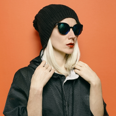 Hipster Blonde Model Swag Tomboy Style. Beanie Hat