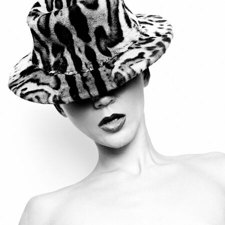 girl in a hat: Girl in a hat Animal Print Leopard Fashion