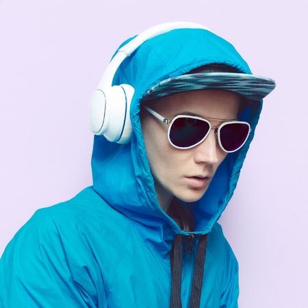 DJ Girl in blue dress. Music Style Techno