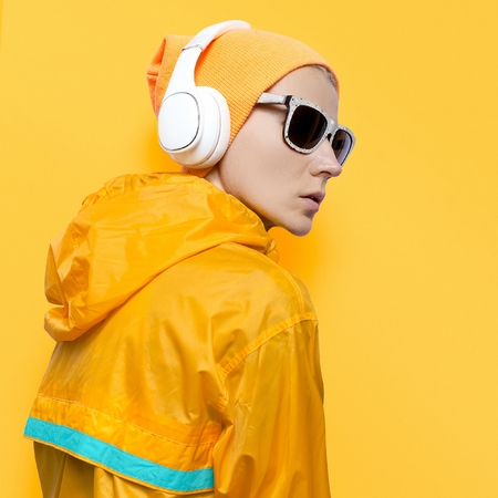 Urban dynamic style. Snowboard DJ Lady. Yellow priority