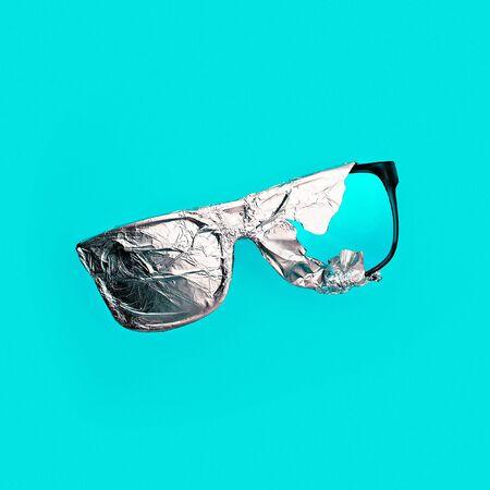 exclusive photo: Sunglasses in the aluminum foil. Stillife art
