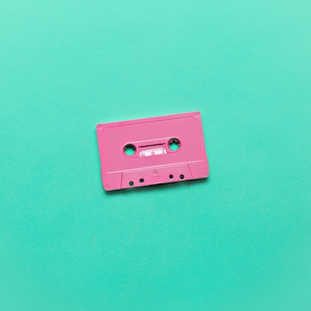 Audio cassette. Retro vibes Minimal art Фото со стока