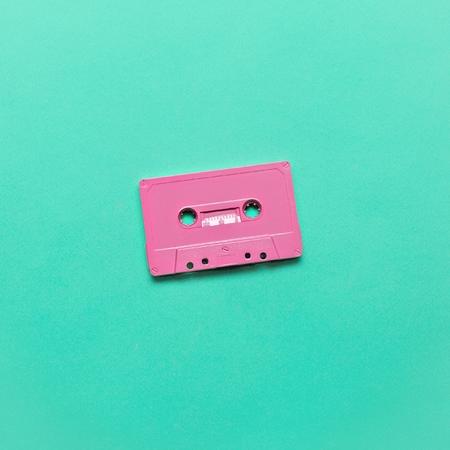 Audio cassette. Retro vibes Minimal art Foto de archivo