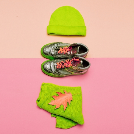 green clothes: Stylish set of clothes. Beanie jacket and sneakers. Urban casual fashion Accent on green