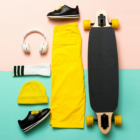Minimal design. Skateboard style outfit