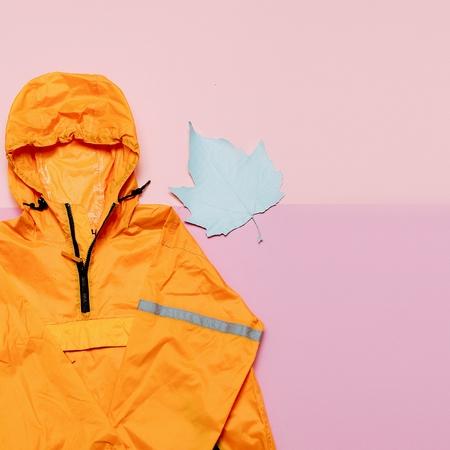 rains: Fashionable Orange Jacket, Urban style. Street Outfit Hi Rains Season