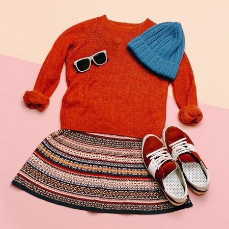 fashion dress: Stylish clothes set. City casual fashion. Spring. Dress and accessories. Hat, Sweater, Glasses and Sneakers Hipster Lady look
