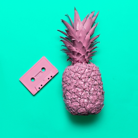 Pineapple and Audio cassette. Beach party Retro vibes Minimal art Stock Photo