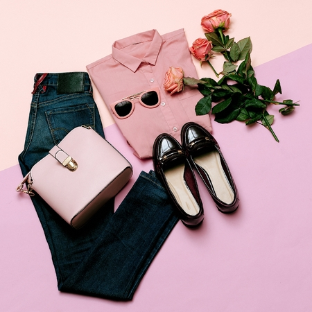 Romantic clothes set. City casual fashion. Spring and Pink. Styling accessories. Pink shirt. Jeans. Bag. Bijouterie for Lady