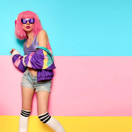 Playful Stylish Girl DJ. Rave, house, digital party Music and fitness vibrations. Clubbing Minimal pop art