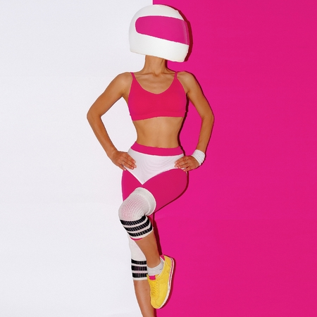 motobike: Fitness and Moto. Girl in helmet. Minimal art. Stock Photo