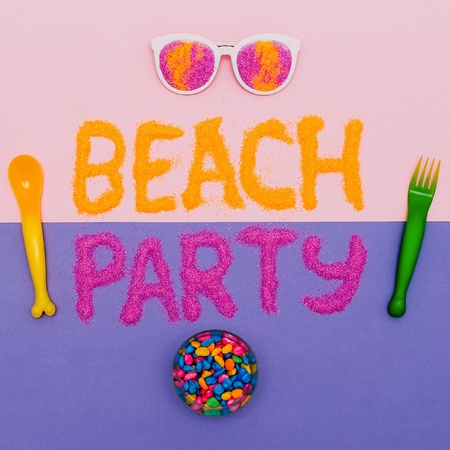 salt flat: Beach Party Vacation Set Minimal fashion art Stock Photo