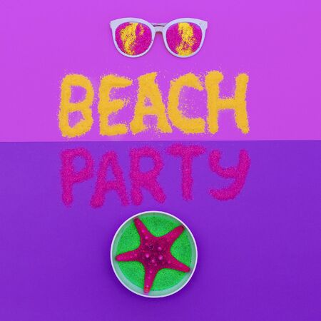 salt flat: Beach party vibes Set Minimal fashion art Stock Photo