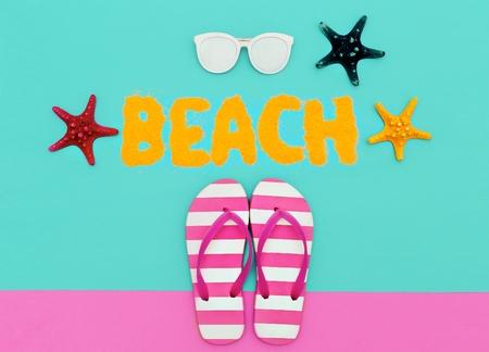 luster: Beach fashion mood. Summer time. Minimal art set Stock Photo