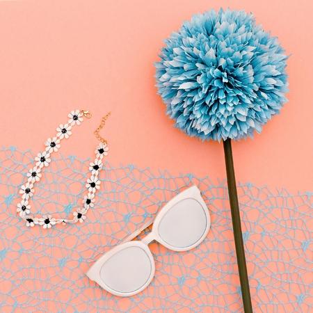 Summer style. Choker and sunglasses. Minimal art Stock Photo