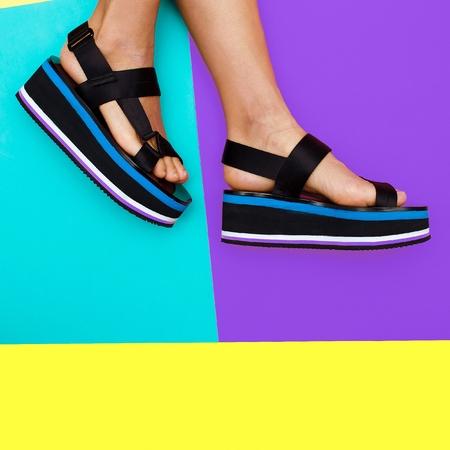 Platform summer trend. Stylish shoes for girls Stock Photo
