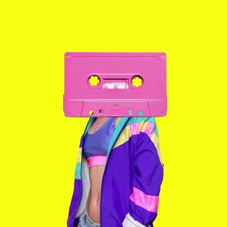 Fashion Retro Cassette Minimal art collage Standard-Bild