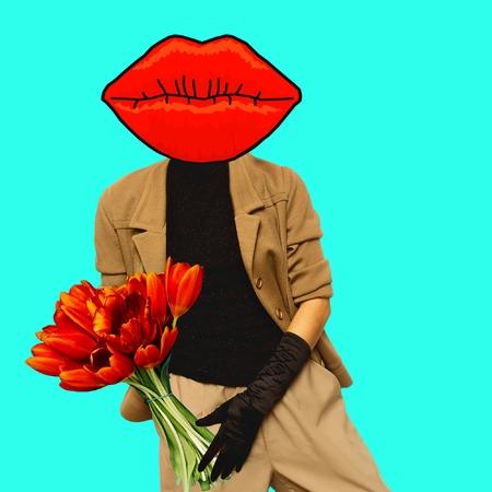 Lady and Gentleman mix. Art collage. Minimal design. Pop art fashion Stock Photo