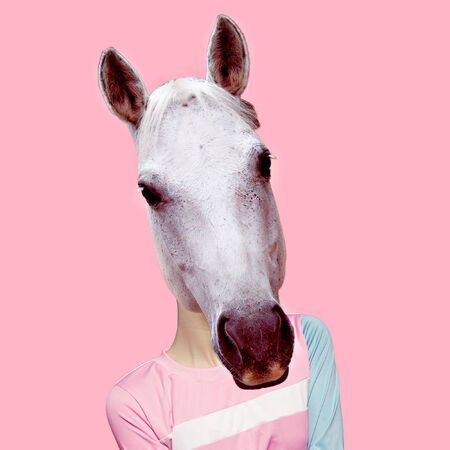 Hybrid Horse and Man. Minimal collage art Stock Photo