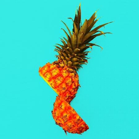 Tropical style. Half a pineapple. Fresh minimal  idea Stock Photo