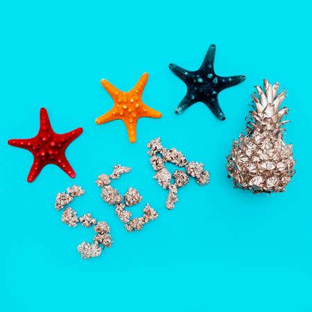 Set of sea stars Beach style. Tropical Minimal art
