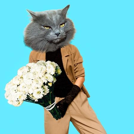 Gentleman Cat. Vintage clothing. Art collage. Minimal fun Stock fotó