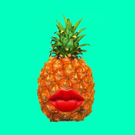 Minimal art collage Pineapple kiss style
