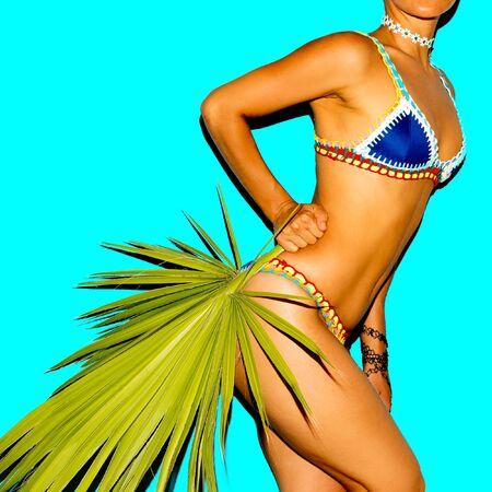 Woman in fashionable Bikini. Tanned body. Beach style 写真素材