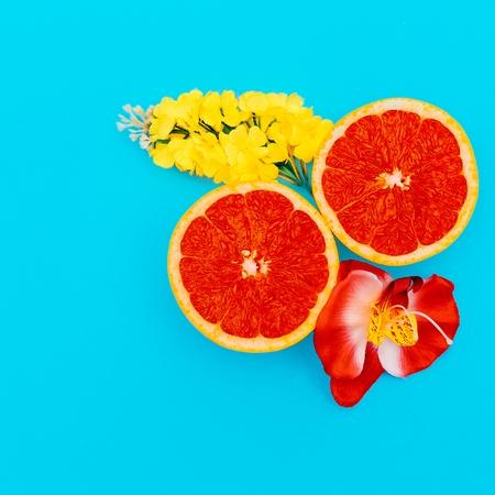 Grapefruit and Mixed Flowers Minimal art. Design